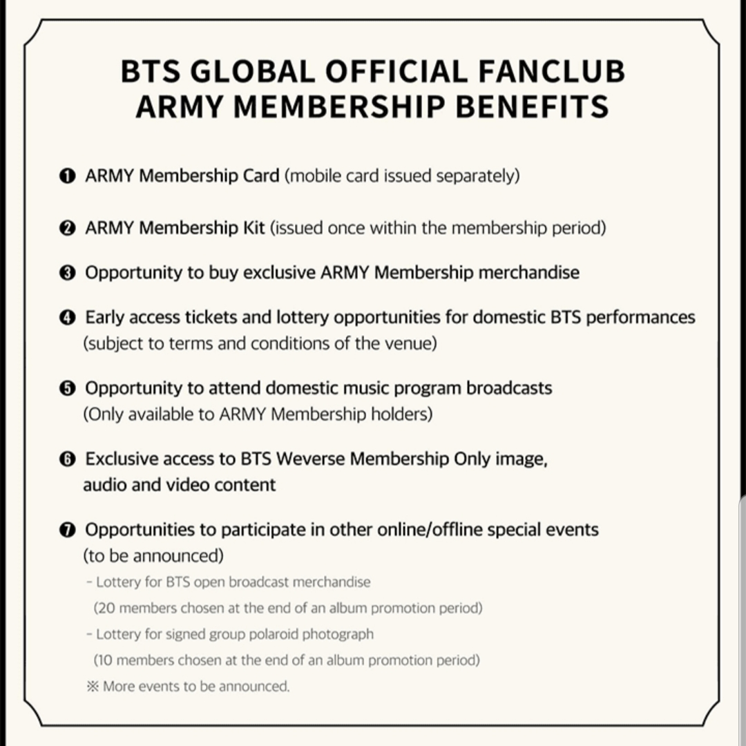 BTS GLOBAL OFFICIAL FANCLUB ARMY MEMBERSHIP (2019~)